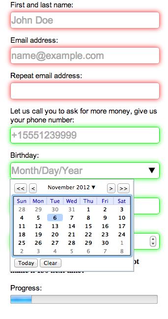 Chrome 22 screenshot of form.html