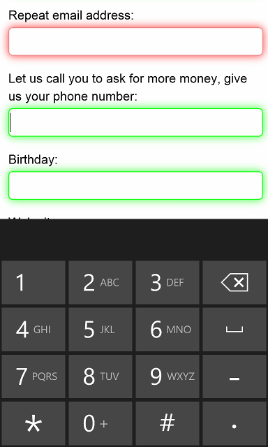 WP8 shows a keyboard optimized for phone numbers
